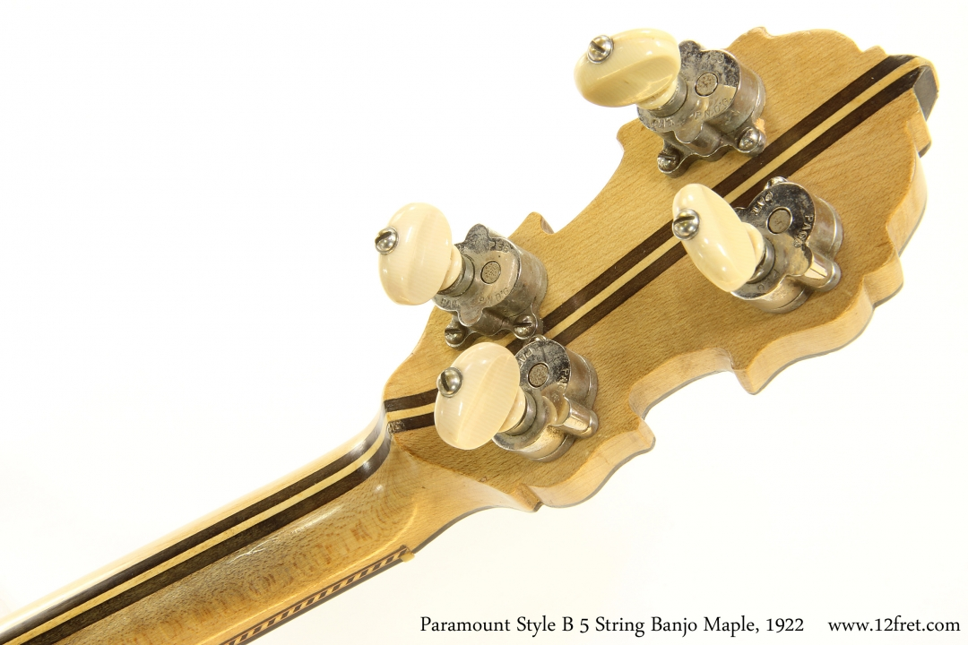 Paramount Style B 5 String Banjo Maple, 1922   Head Rear View