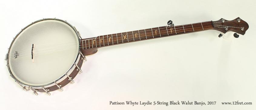 Pattison Whyte Laydie 5-String Black Walut Banjo, 2017 Full Front View