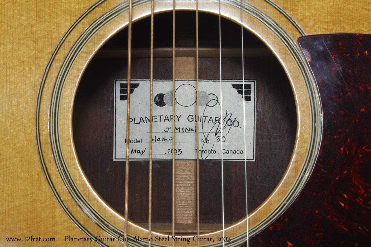 Planetary Guitar Co.  Alamo Steel String Guitar, 2003 Label