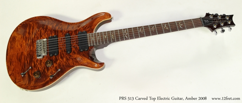 PRS 513 Carved Top Electric Guitar, Amber 2008 Full Front View