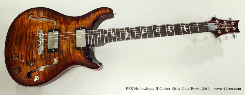 PRS Hollowbody II Guitar Black Gold Burst, 2013 Full Front View