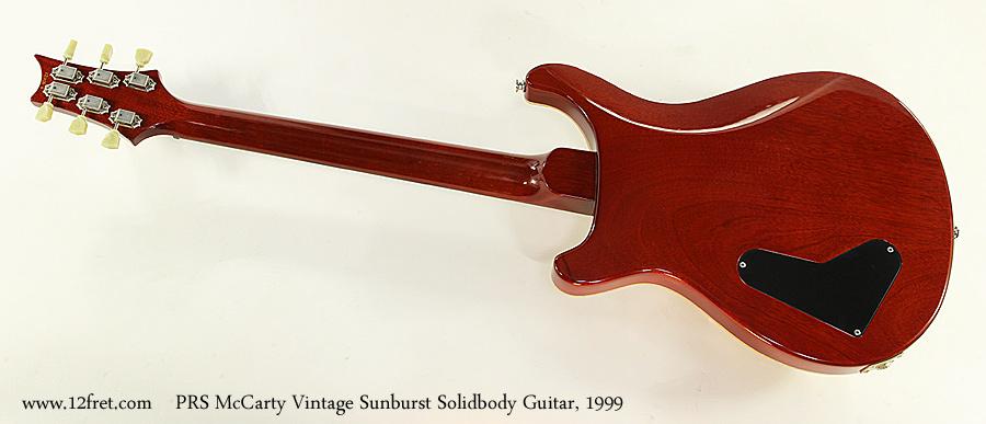 PRS McCarty Vintage Sunburst Solidbody Guitar, 1999 Full Rear View