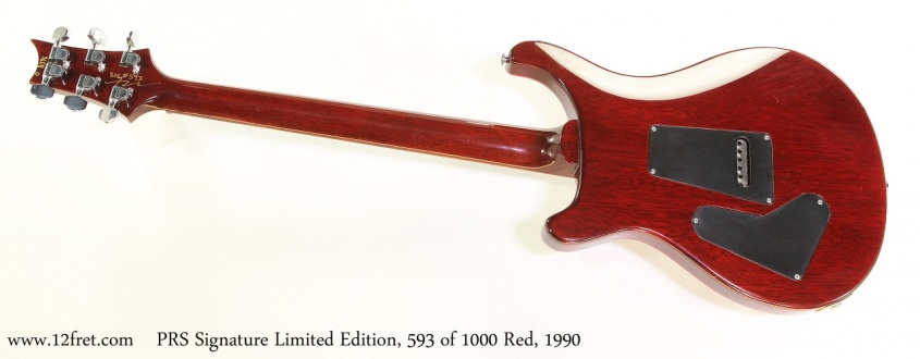 PRS Signature Limited Edition, 593 of 1000 Red, 1990 Full Rear View