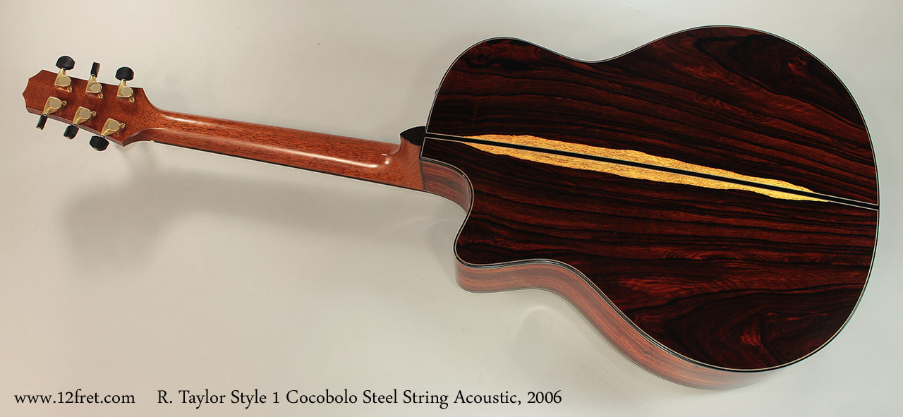R. Taylor Style 1 Cocobolo Steel String Acoustic, 2006 Full Rear View
