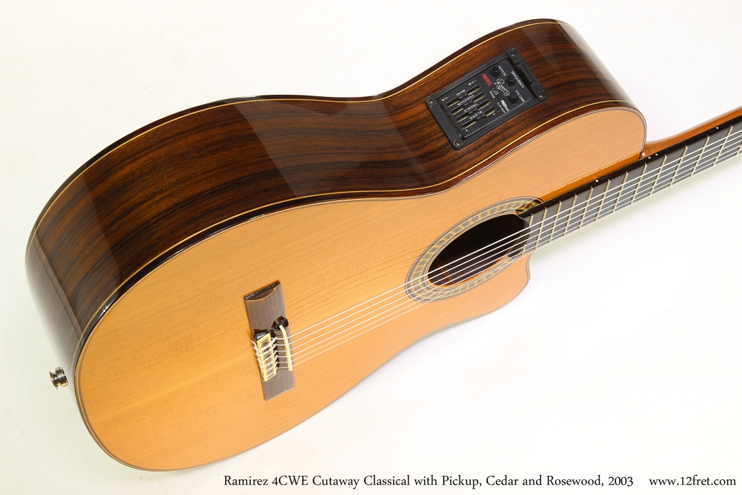 Ramirez 4CWE Cutaway Classical with Pickup, Cedar and Rosewood, 2003   Side Control View