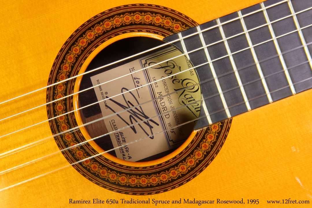 Ramirez Elite 650a Tradicional Spruce and Madagascar Rosewood, 1995 Label View