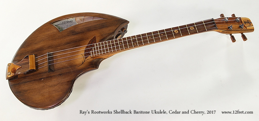 Ray's Rootworks Shellback Baritone Ukulele, Cedar and Cherry, 2017 Full Front View