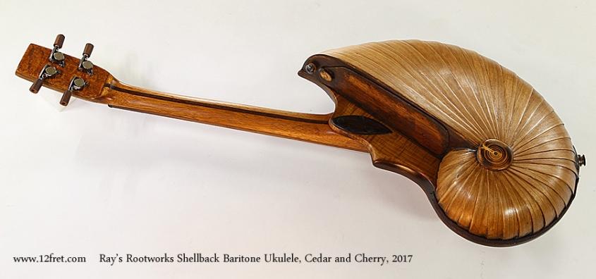 Ray's Rootworks Shellback Baritone Ukulele, Cedar and Cherry, 2017 Full Rear View