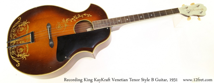 Recording King KayKraft Venetian Tenor Style B Guitar, 1931 Full Front View