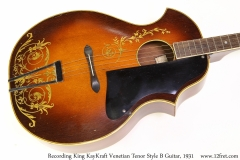 Recording King KayKraft Venetian Tenor Style B Guitar, 1931 Top View