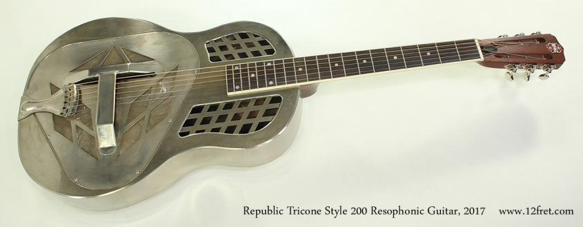 Republic Tricone Style 200 Resophonic Guitar, 2017 Full Front View