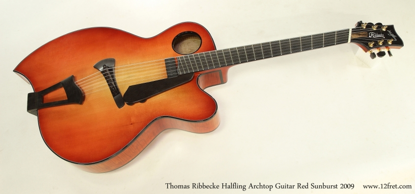 Thomas Ribbecke Halfling Archtop Guitar Red Sunburst 2009   Full Front View