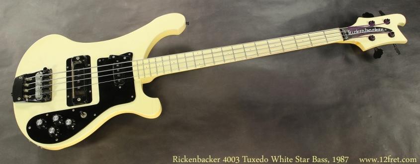 Rickenbacker 4003 Tuxedo White Star Bass, 1987 Full Front View