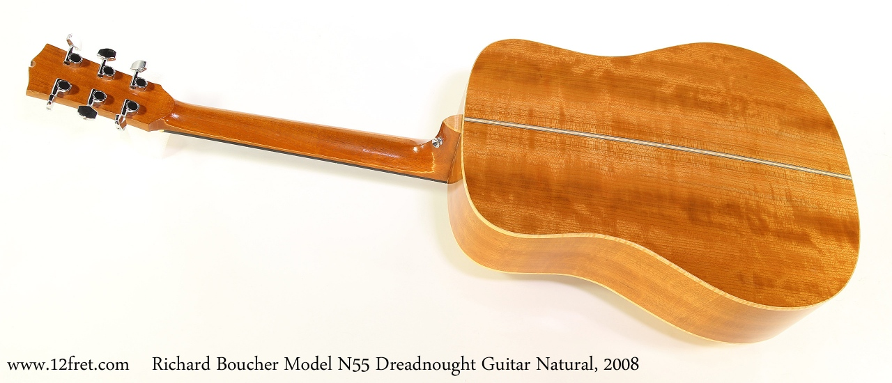 Richard Boucher Model N55 Dreadnought Guitar Natural, 2008 Full Rear View