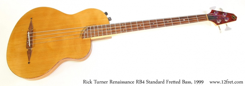 Rick Turner Renaissance RB4 Standard Fretted Bass, 1999  Full Front View