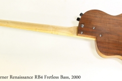 Rick Turner Renaissance RB4 Fretless Bass, 2000   Full Rear View