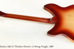 Rickenbacker 330/12 Thinline Electric 12 String Fireglo, 1987  Full Rear View