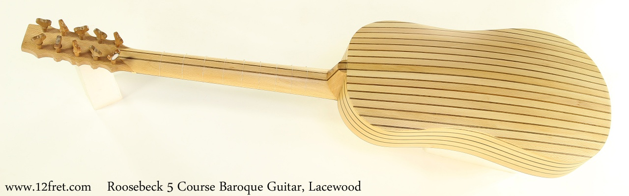 Roosebeck 5 Course Baroque Guitar, Lacewood Full Rear View