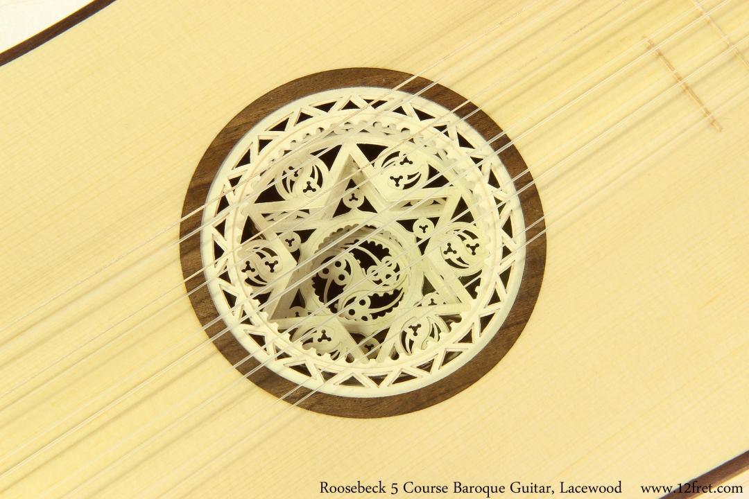 Roosebeck 5 Course Baroque Guitar, Lacewood Rose View