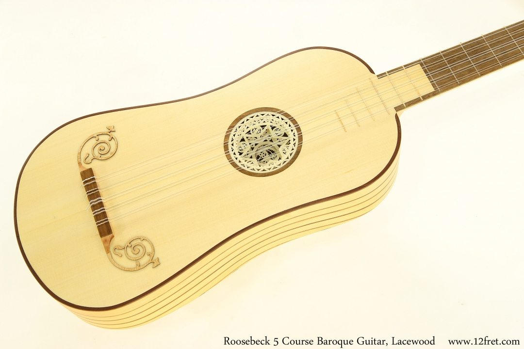 Roosebeck 5 Course Baroque Guitar, Lacewood Top View
