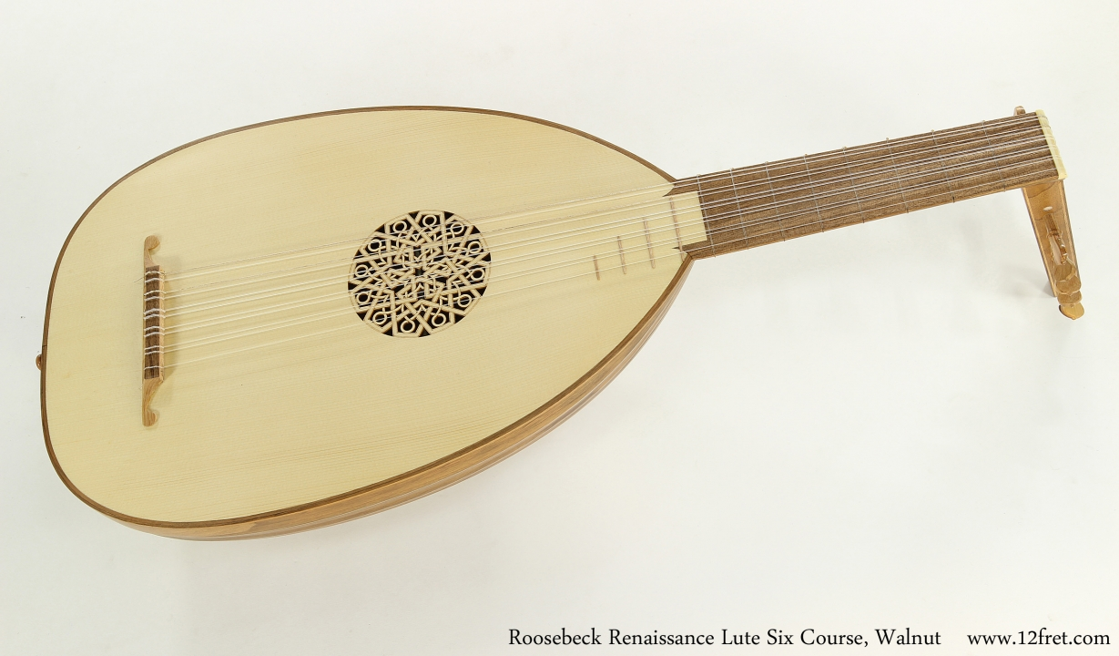 Roosebeck Renaissance Lute Six Course, Walnut  Full Front View