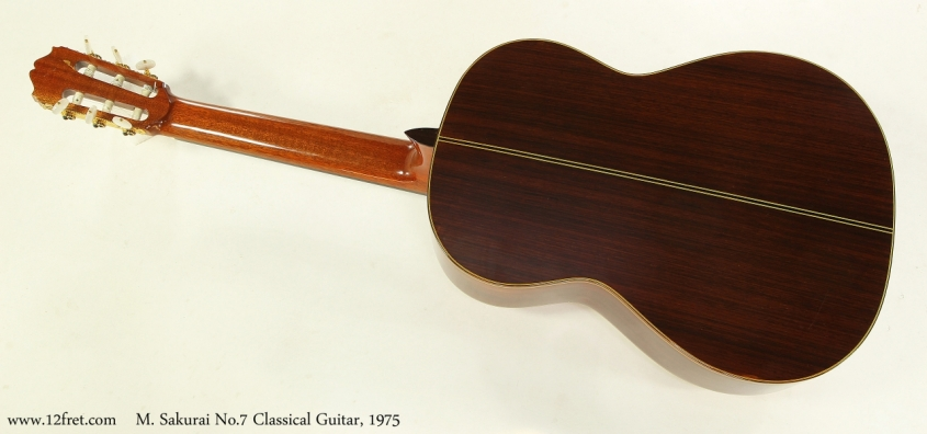 M. Sakurai No.7 Classical Guitar, 1975  Full Rear View