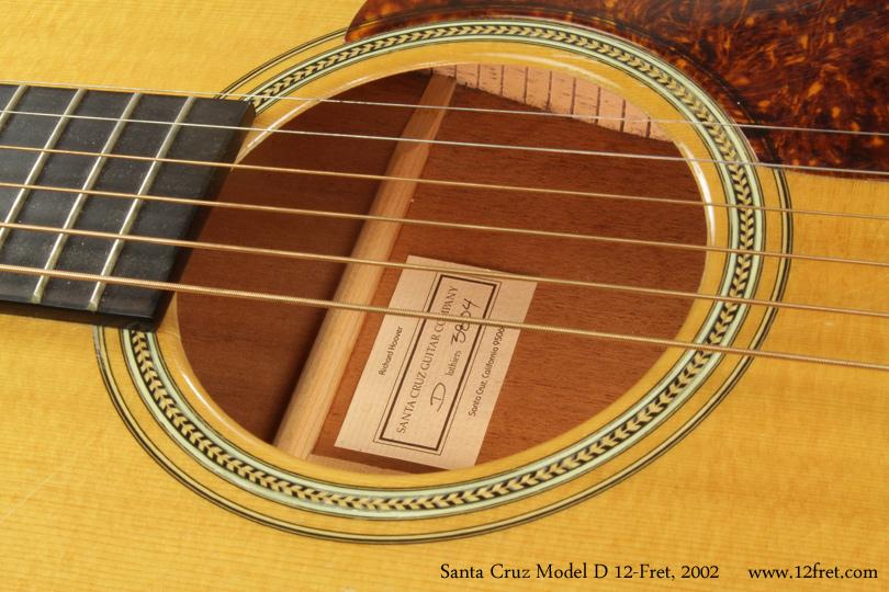 Santa Cruz Model D 12 Fret 2002 label