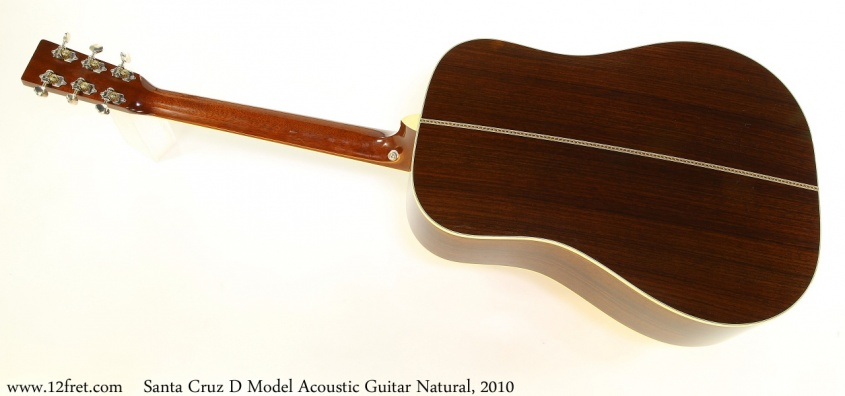 Santa Cruz D Model Acoustic Guitar Natural, 2010 Full Rear View