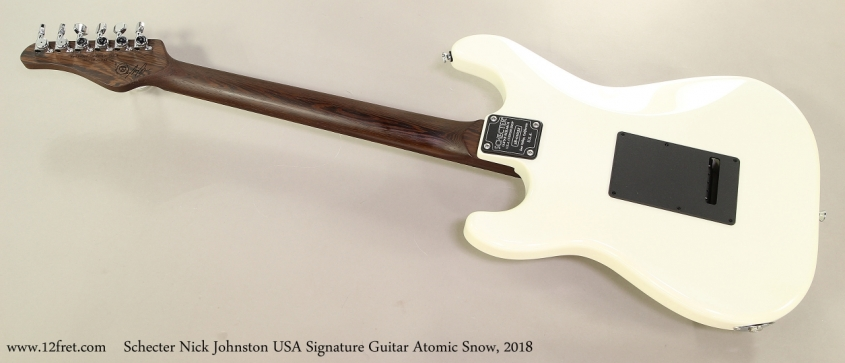 Schecter Nick Johnston USA Signature Guitar Atomic Snow, 2018 Full Rear VIew