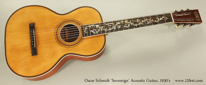 Oscar Schmidt 'Sovereign' Acoustic Guitar, 1930's Full Front View