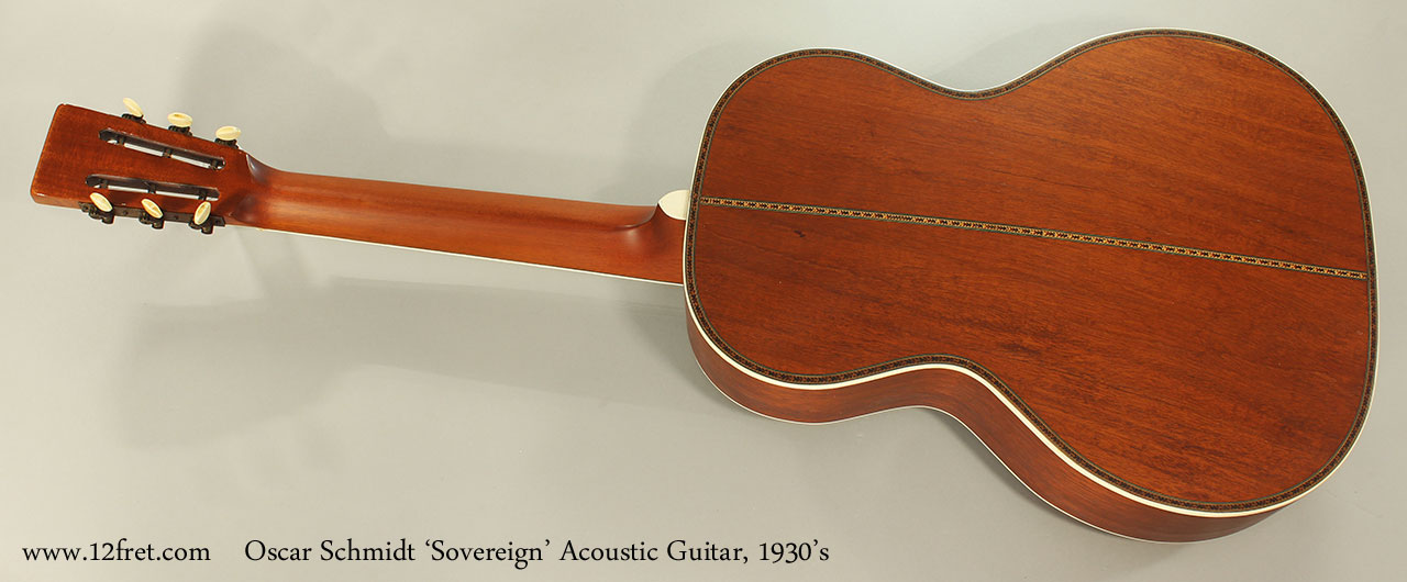 Oscar Schmidt 'Sovereign' Acoustic Guitar, 1930's Full Rear View