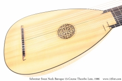 Schreiner Swan Neck Baroque 13-Course Theorbo Lute, 1996 Top View