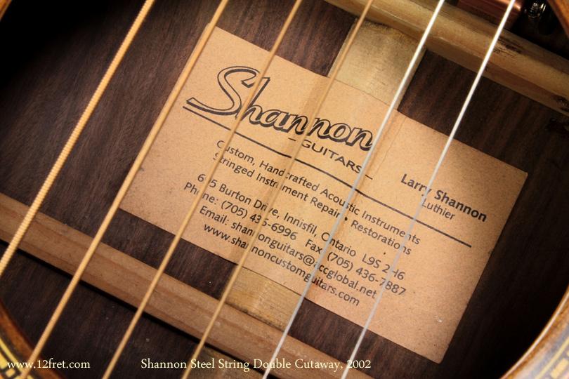 Shannon Double Cutaway Acoustic 2002 label