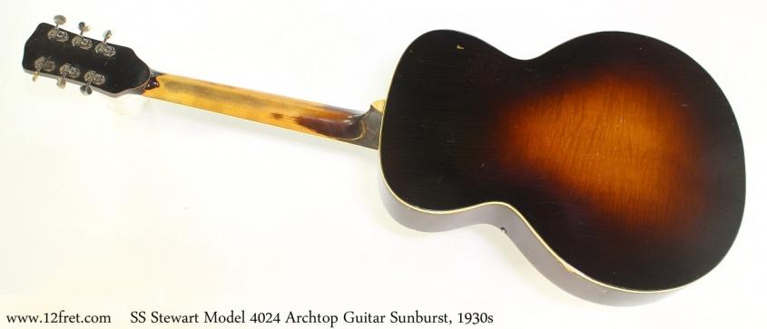 SS Stewart Model 4024 Archtop Guitar Sunburst, 1930s Full Rear View