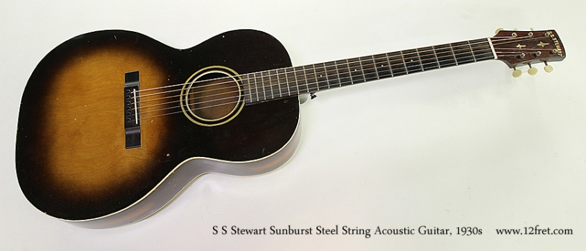 S S Stewart Sunburst Steel String Acoustic Guitar, 1930s Full Front View