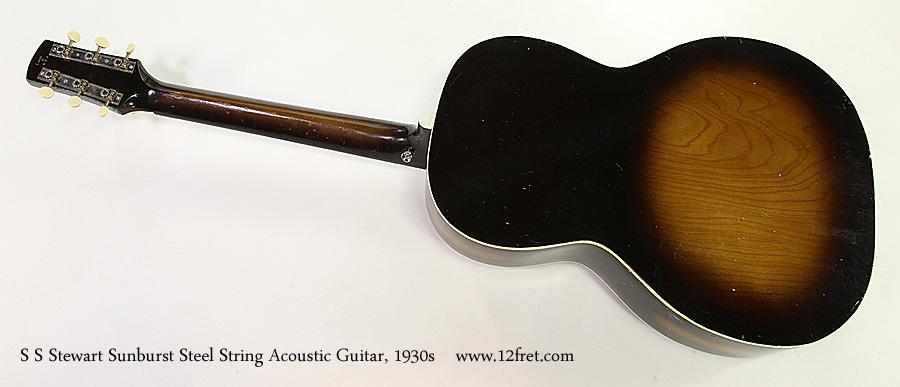 S S Stewart Sunburst Steel String Acoustic Guitar, 1930s Full Rear View