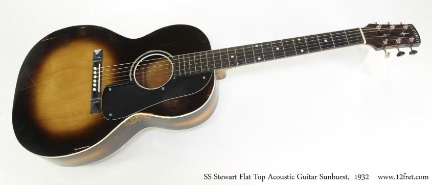 SS Stewart Flat Top Acoustic Guitar Sunburst,  1932  Full Front View