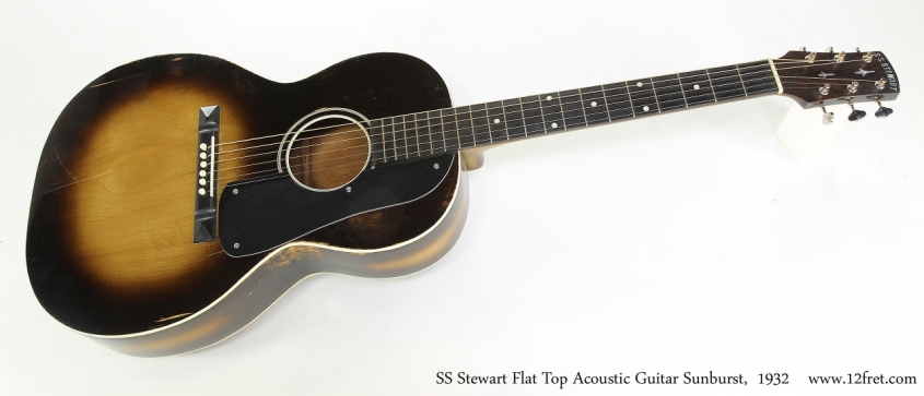 SS Stewart Flat Top Acoustic Guitar Sunburst,  1932  Full Front View