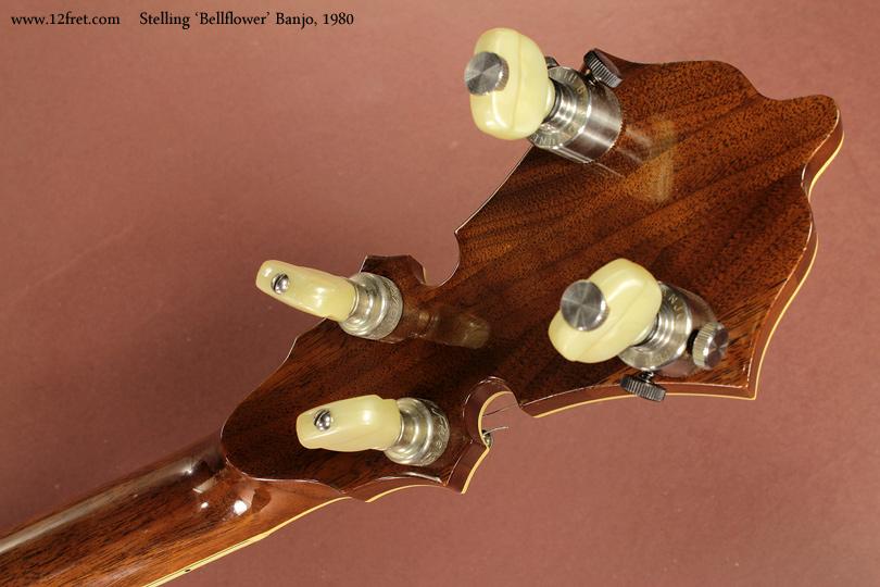 Stelling Bellflower Banjo 1980 head rear view