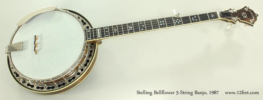 Stelling Bellflower 5-String Banjo, 1987 Full Front View