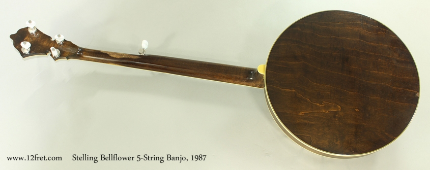 Stelling Bellflower 5-String Banjo, 1987 Full Rear View