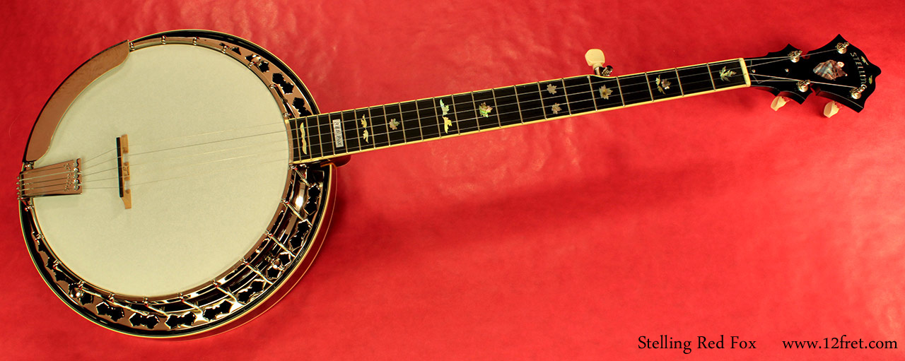 Stelling Red Fox Banjo full front view
