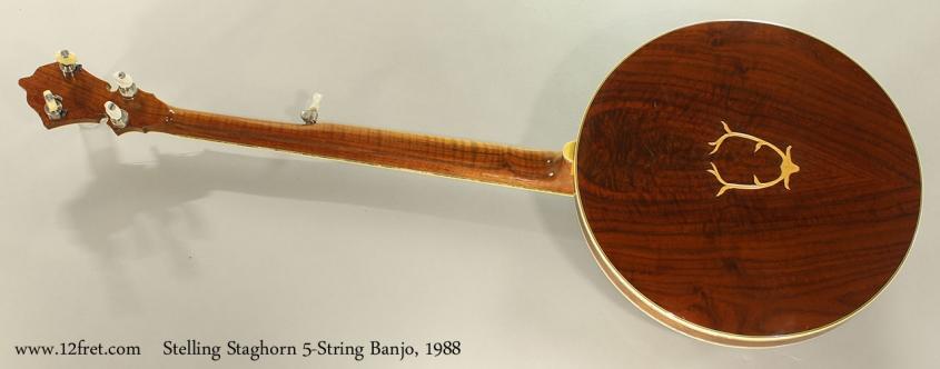 Stelling Staghorn 5-String Banjo, 1988 Full Rear View