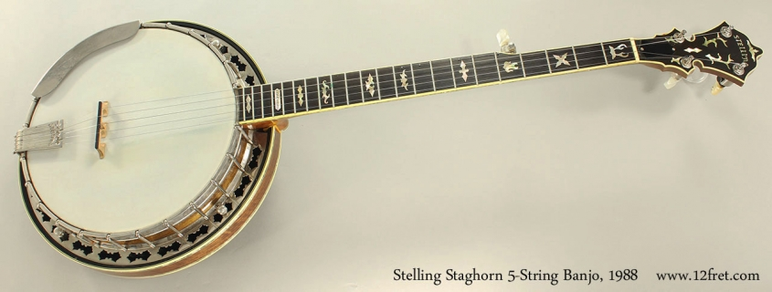 Stelling Staghorn 5-String Banjo, 1988 Full Front View