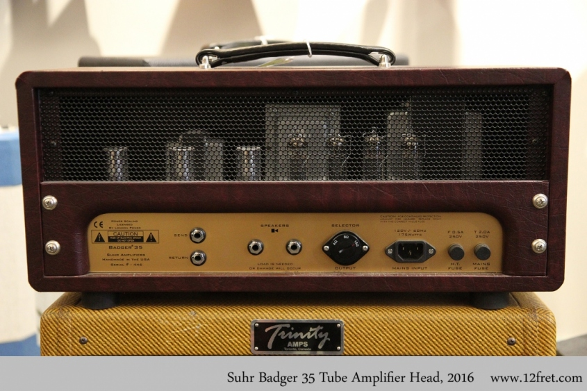 Suhr Badger 35 Tube Amplifier Head, 2016 Full Rear View