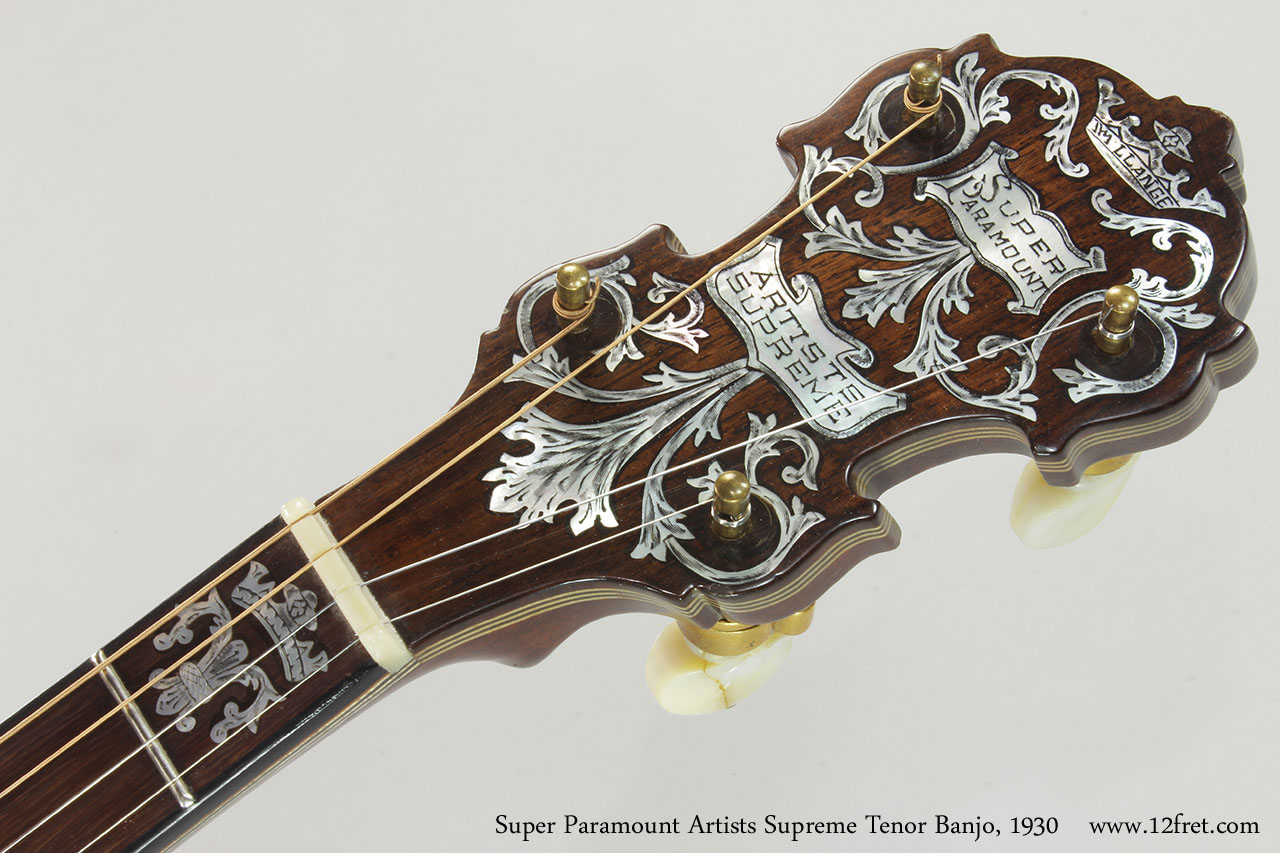 Super Paramount Artists Supreme Tenor Banjo, 1930 Head Front View