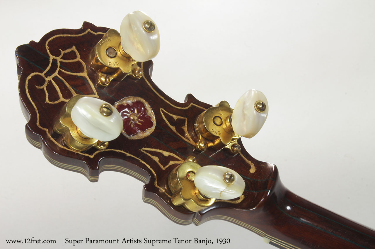Super Paramount Artists Supreme Tenor Banjo, 1930 Head Rear View