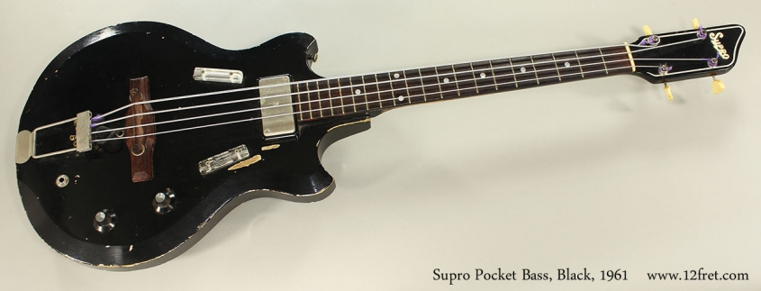 Supro Pocket Bass, Black, 1961 Full Front View