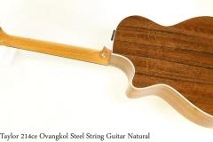 Taylor 214ce Ovangkol Steel String Guitar Natural Full Rear View