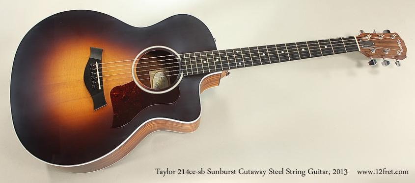 Taylor 214ce-sb Sunburst Cutaway Steel String Guitar, 2013 Full Front View